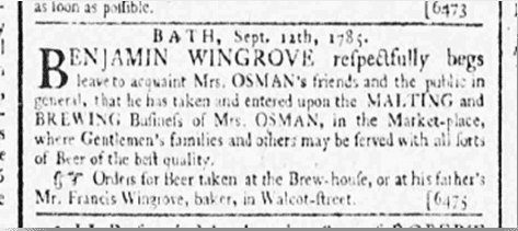 About Benjamin Wingrove's brewing business