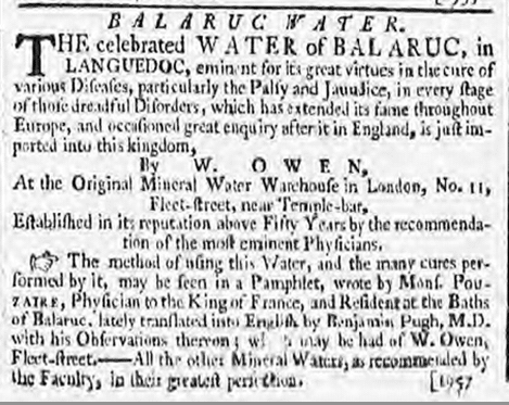 Balaruc Water, Bath Chronicle, Thursday 5 March 1789