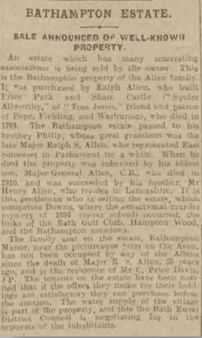 Bathampton Manor for sale, Bath Chronicle, 24 December 1920