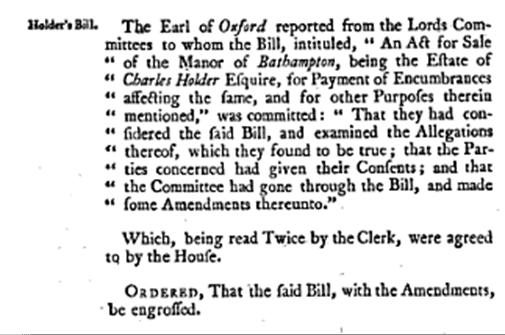 Bathampton Manor sale, Journals of the House of Lords, Volume 26 1741