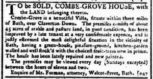 Combe Grove from the Bath Chronicle, Thursday 22 November 1781