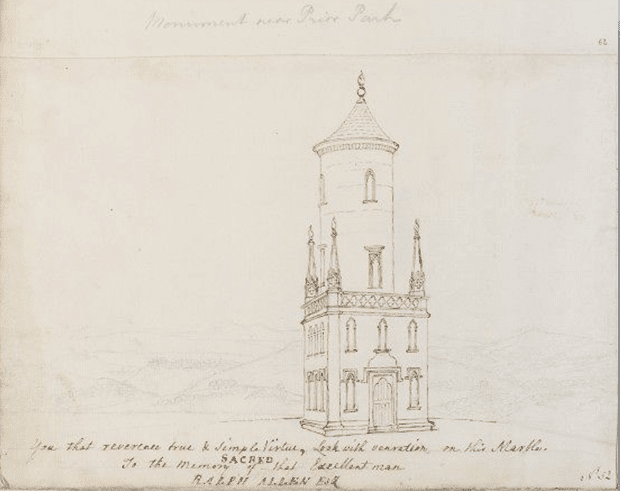 Drawing of the memorial to Ralph Allen, 18th century, by Thomas Robins 1715 – 1770. Image courtesy of V&A