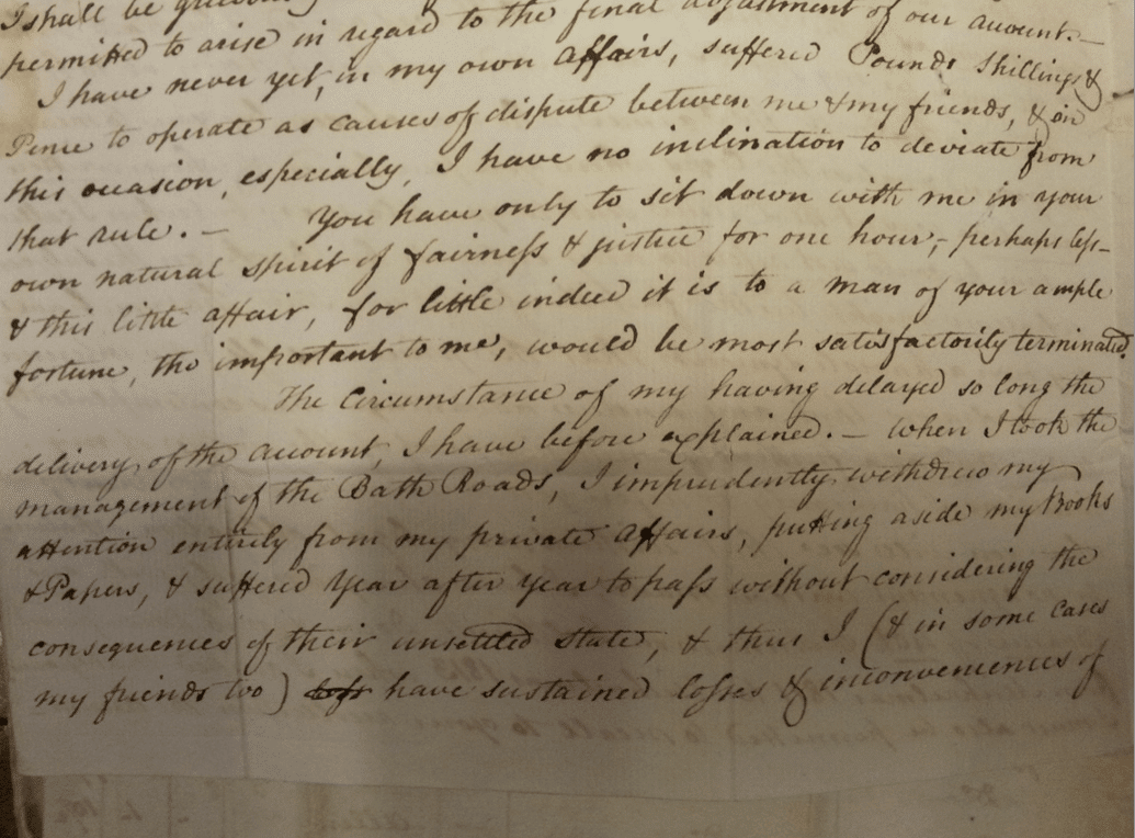 Excerpt from letter by Benjamin Wingrove to John Thomas of Prior Park (Bath Record Office Acc446)