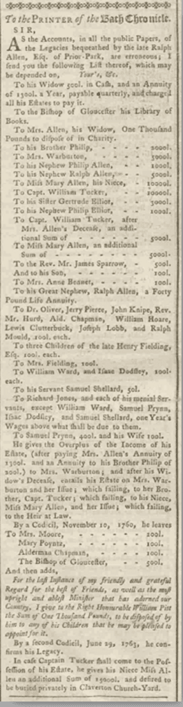 Letter about Ralph Allen's will, Bath Chronicle, 23 August 1764