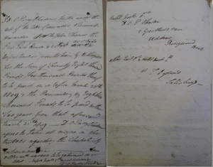 Letter from 1809 offering John Thomas Prior Park for £28,000 (Bath Record Office Acc446)