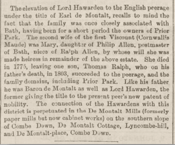 Lord Hawarden becomes Earl de Montalt, Bath Chronicle, Thursday 30 September 1886