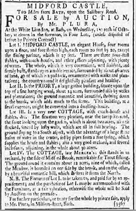 Midford Castle for sale, Bath Chronicle, Thursday 4 October 1787