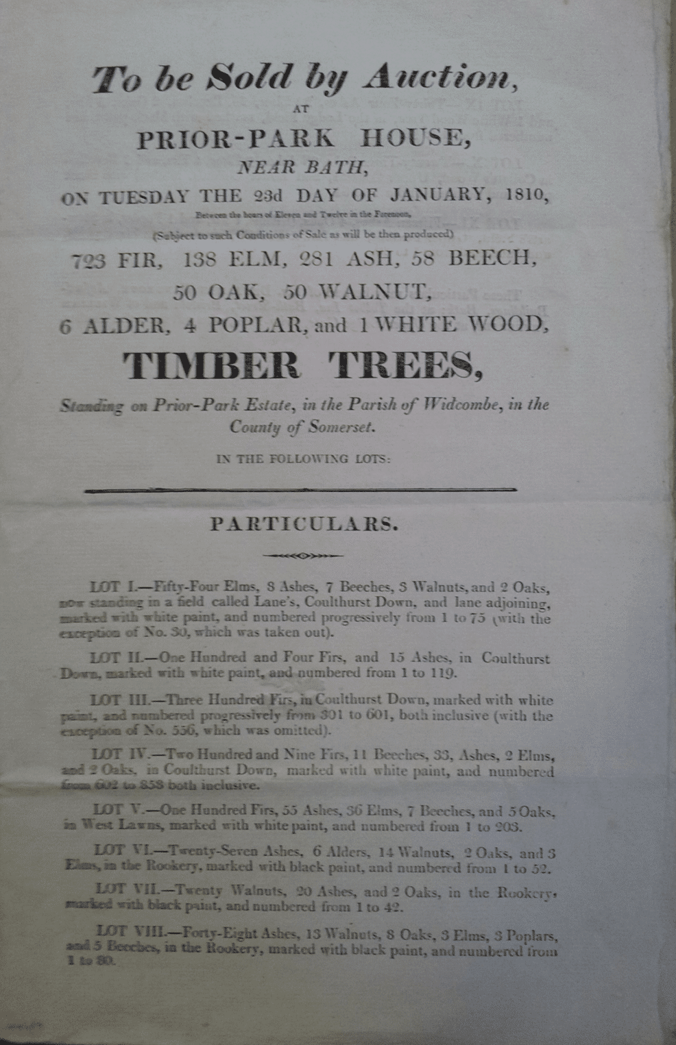 Page 1 of Prior Park timber sale catalogue, 1810