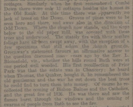 Part of interview with 'Old John' Greenway - Bath Chronicle and Weekly Gazette - Thursday 19 March 1896