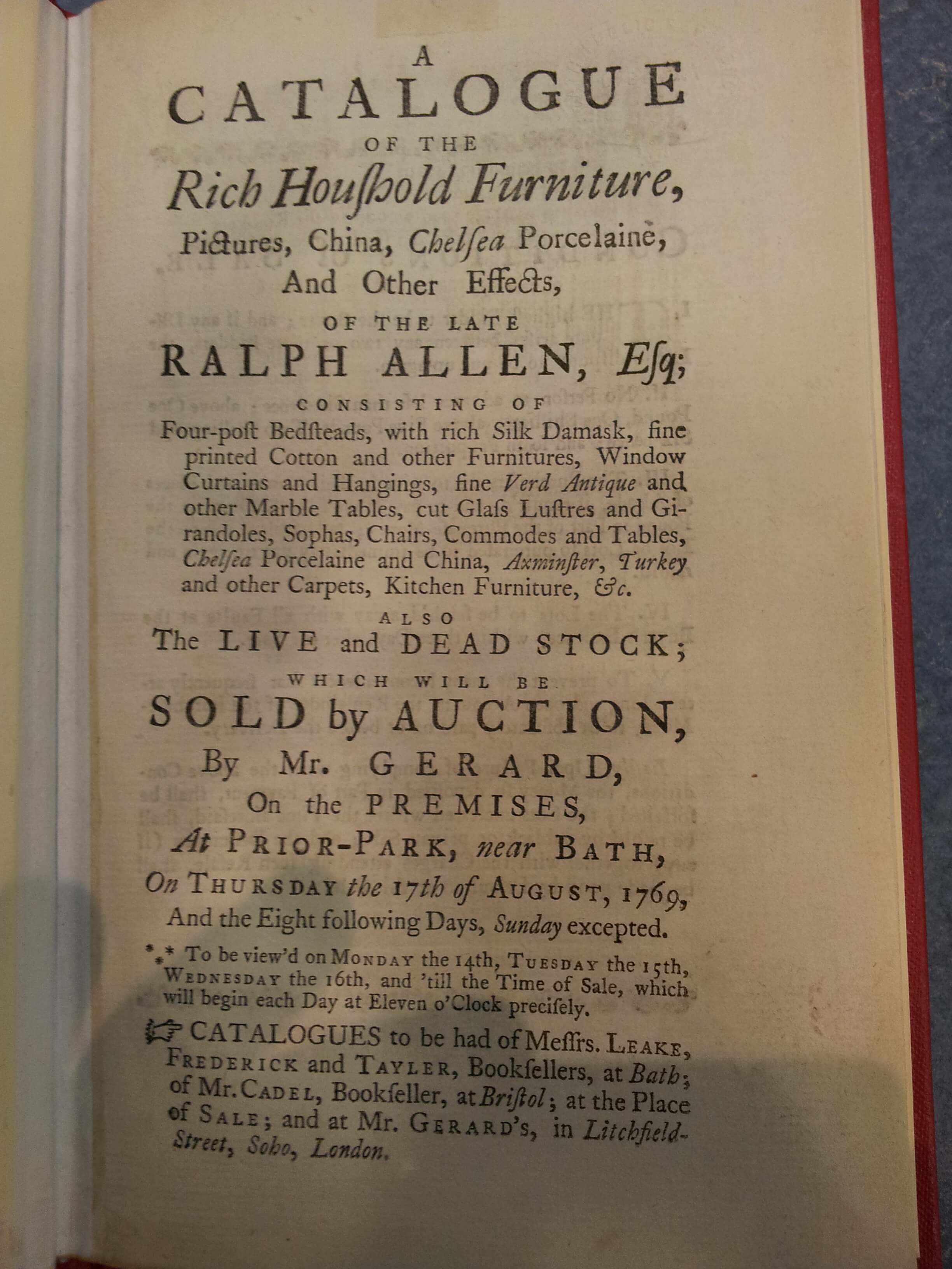 The front of the 1769 Prior Park sale catalogue
