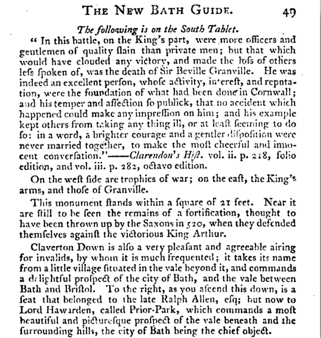 Prior Park, Bath Guide 1799, with reference to Lord Hawarden
