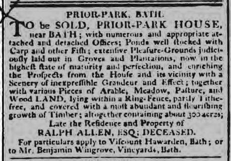 Prior Park for sale 1803 - Bath Chronicle and Weekly Gazette - Thursday 5 May 1803