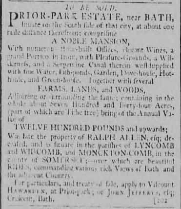 Prior Park for sale in 1797 - Bath Chronicle and Weekly Gazette - Thursday 24 August 1797