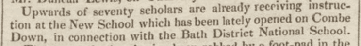 70 scholars on Combe Down, Bath Chronicle, 25 November 1830