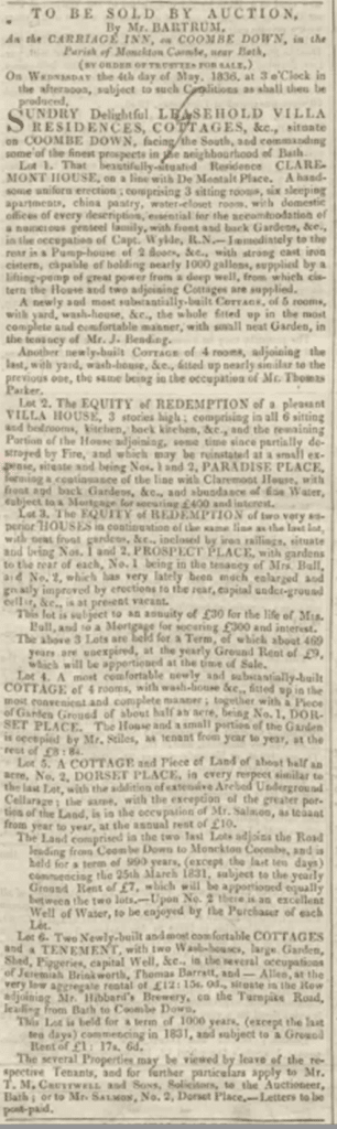 Advert for auction on Combe Down, Bath Chronicle, Thursday 7 April 1836