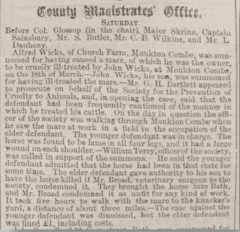 Alfred Wicks fined, Bath Chronicle, Thursday 8 April 1880