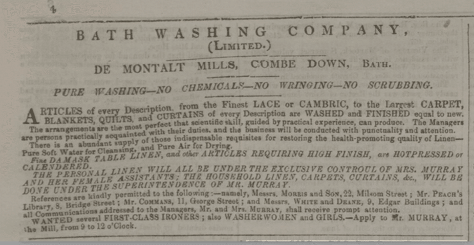 Bath Washing Company advert, Bath Chronicle, Thursday 24 March 1859