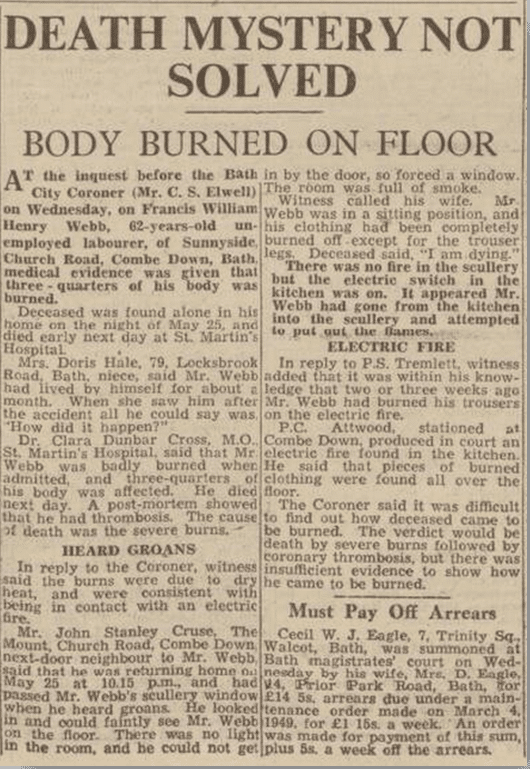 Burned body, Bath Chronicle, Saturday 4 June 1949