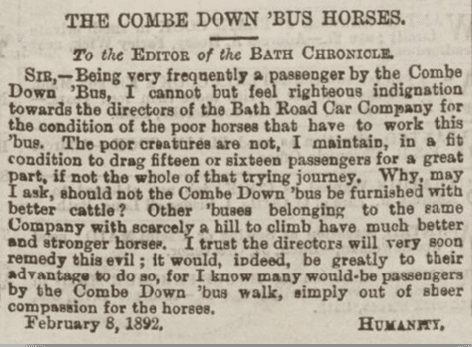 Combe Down bus horses, Bath Chronicle, Thursday 11 February 1892