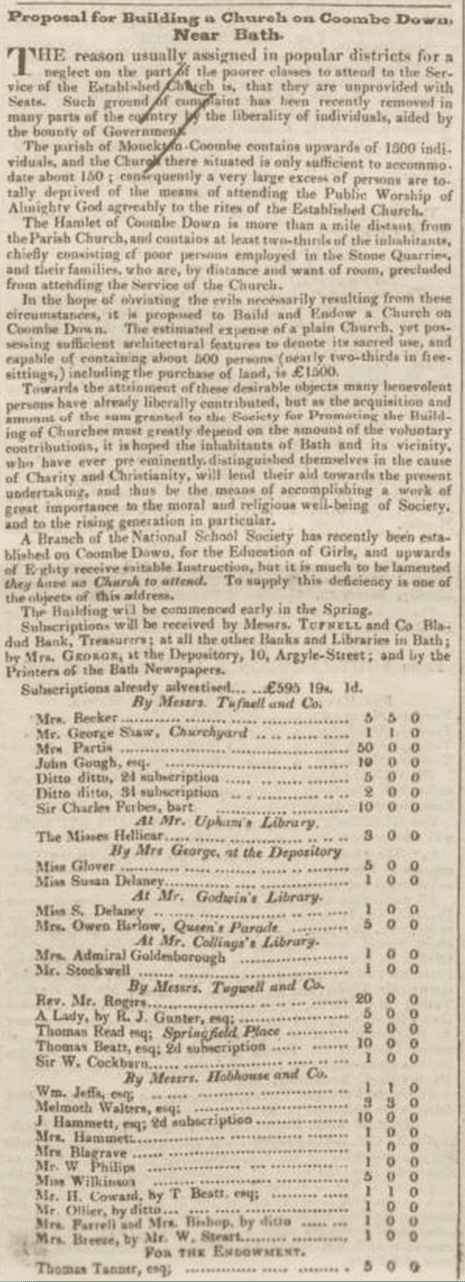 Combe Down church proposal, Bath Chronicle, Thursday 1 March 1832
