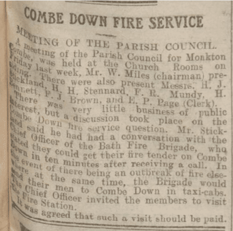Combe Down fire service from the Bath Chronicle, Saturday 2 November 1912