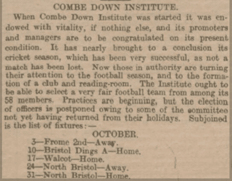 Combe Down Institute, Bath Chronicle,Thursday 10 September 1896