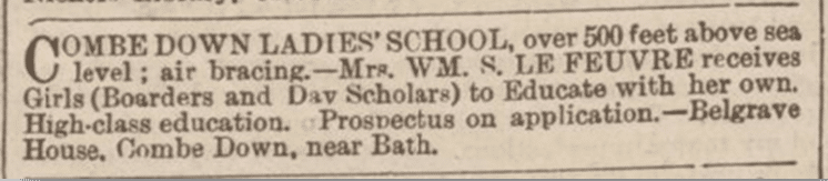 Combe Down ladies school, Bath Chronicle, Thursday 4 July 1895