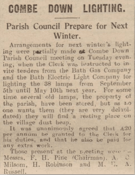 Combe Down lighting, Bath Chronicle, Saturday 17 July 1926