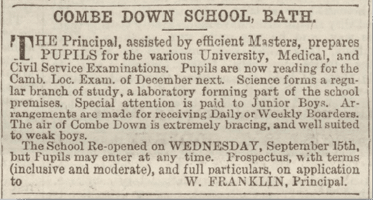 Combe Down School, Bath Chronicle, Sunday 11 April 1886