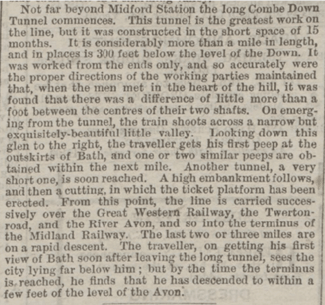 Combe Down tunnel, Western Gazette, Friday 3 July 1874