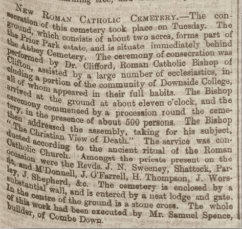 Consecration of new Catholic cemetery, Bath Chronicle, Thursday 3 June 1858