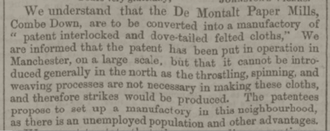 De Montalt Mills announcement, Bath Chronicle, Thursday 13 July 1854