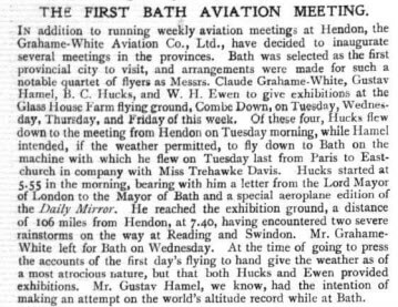 Flight Magazine 1912 - the first Bath aviation meeting