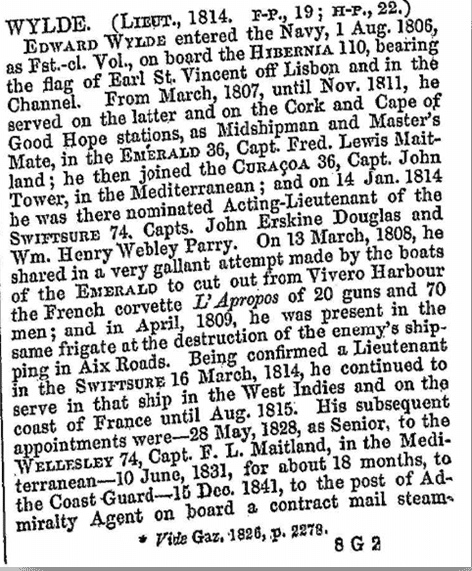 From A naval biographical dictionary: comprising the life and services of every living officer  in Her Majesty's navy, from the rank of admiral of the fleet to that of lieutenant, inclusive 1849