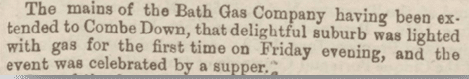 Gas gets to Combe Down, Bath Chronicle, Thursday 26 October 1865
