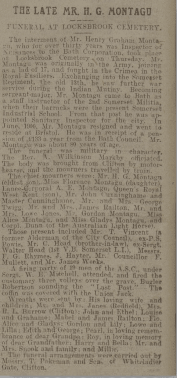 Henry Graham Montague funeral, Bath Chronicle, Saturday 1 April 1916