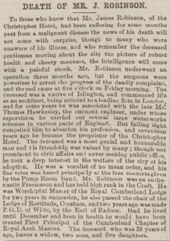 James Robinson obituary, Bath Chronicle, Thursday 29 November 1894