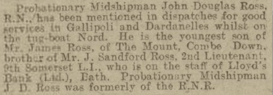 John Douglas Ross mentioned in despatches, Bath Chronicle, Saturday 10 June 1916