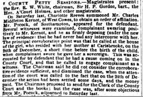Kernot affiliation order report, Hampshire Advertiser, Saturday 3 July 1852