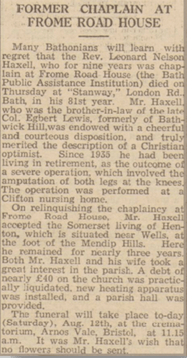 Leonard Haxell obituary, Bath Chronicle, Saturday 12 August 1939