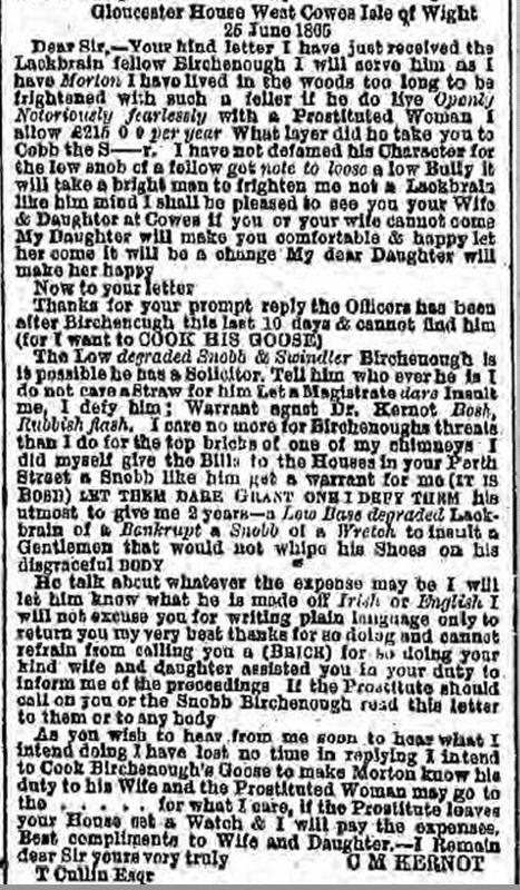 Letter from Kernot libel trial, Liverpool Mercury, Wednesday 12 July 1865
