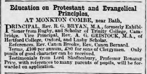 Monkton Combe School advert, Bath Chronicle, Thursday 30 December 1875