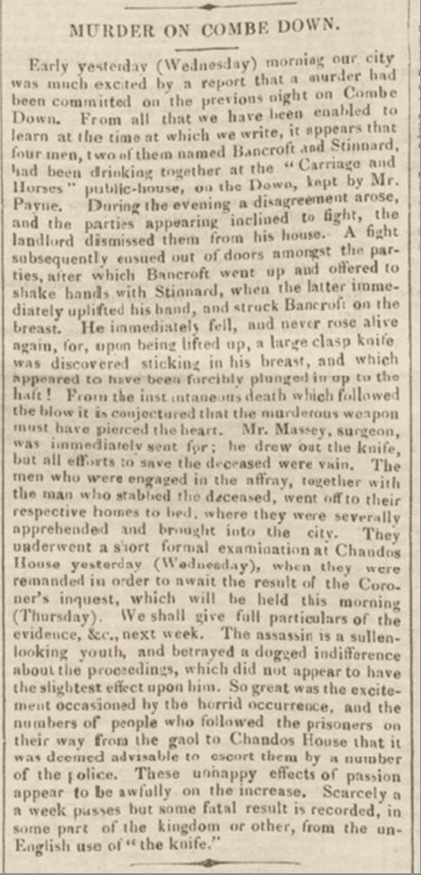 Murder on Combe Down, Bath Chronicle, Thursday 18 November 1841