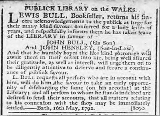Notice about Lewis Bull, Bath Chronicle, Thursday 17 May 1792