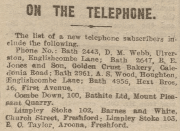 On the telephone, Bath Chronicle, Saturday 8 March 1930