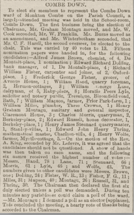 Parish Council elections, Bath Chronicle, Wednesday 5 December 1894