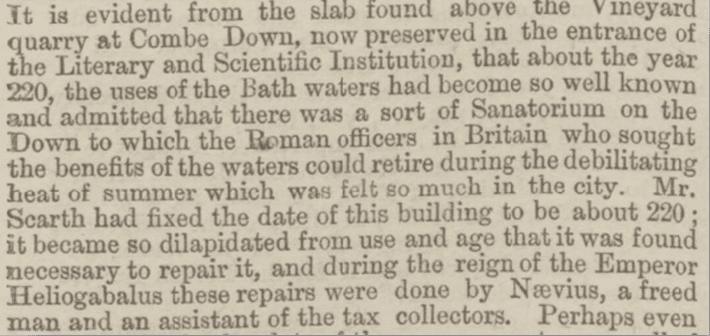 Roman Villa a Sanatorium, Bath Chronicle, Thursday 31 January 1867