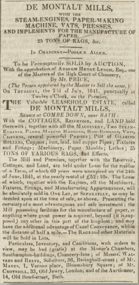 Sale of De Montalt Mill. Bath Chronicle, Thursday 8 July 1841