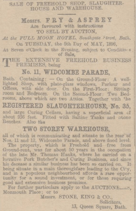 Sale of Thomas Hanks shop etc., Bath Chronicle, Thursday 16 April 1896