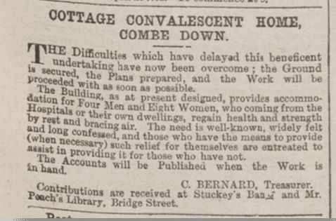 Start of Combe Down convalescent home building, Bath Chronicle, Thursday 8 January 1880